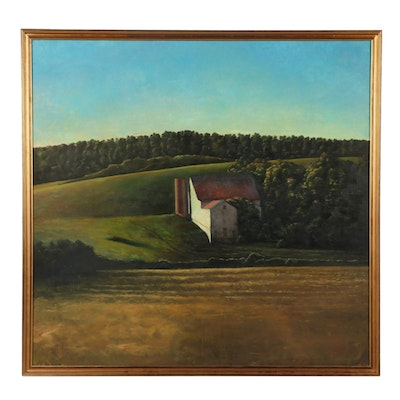 1986 Barn Landscape Oil Painting
