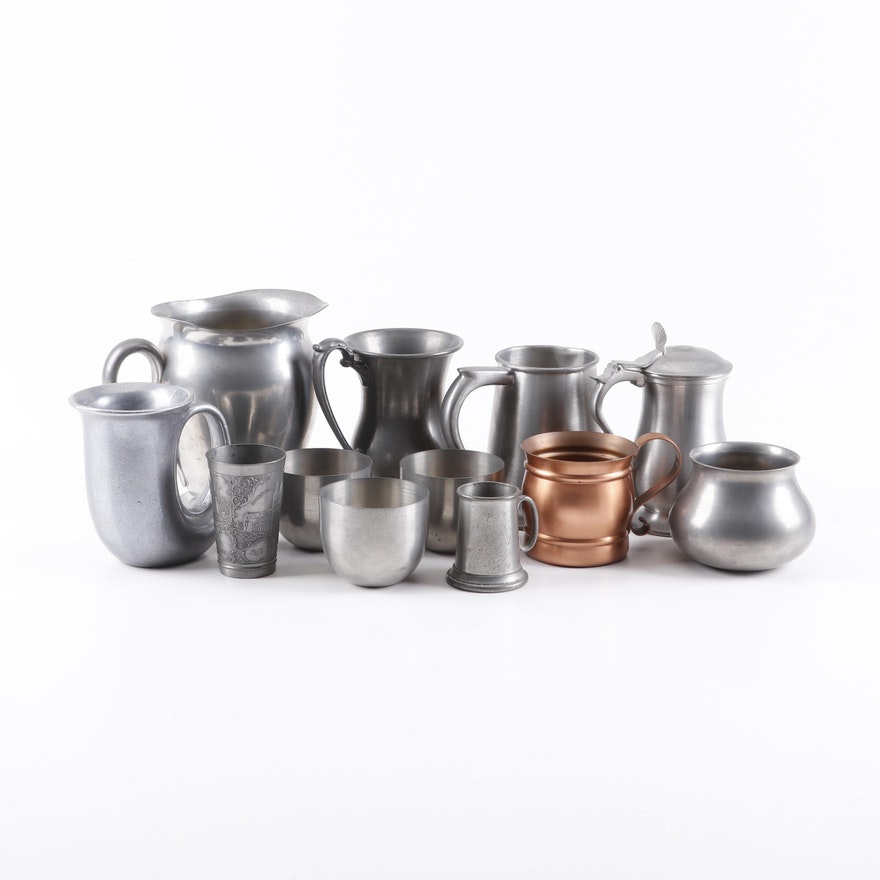 Pewter and Copper Drinkware and Vase Assortment