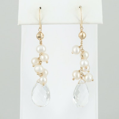 14K and 12K Yellow Gold Rock Quartz Crystal and Cultured Pearl Dangle Earrings