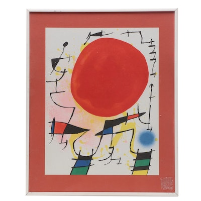 "Lithograph after Joan Miró ""Le Soleil Rouge"""