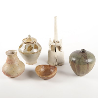 Thrown and Handbuilt Stoneware Vases and Lidded Canister