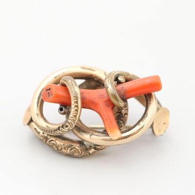 Victorian Gold Tone Brecciated Coral Love Knot Brooch