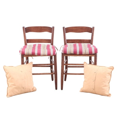 Wood and Woven Rattan Chairs with Cushions and Pillows, Late 20th Century