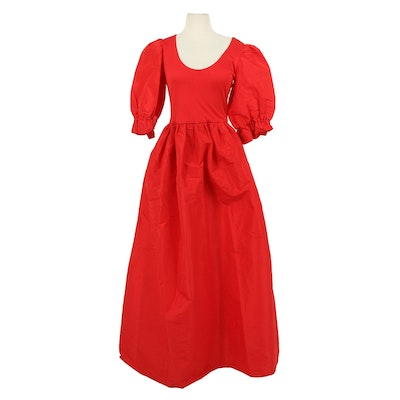 Jill Richards Red Formal Dress with Scoop Neckline and Balloon Sleeves, Vintage