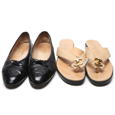 Chanel CC Ballet Flats and Platform Slides in Black and Nude Leather