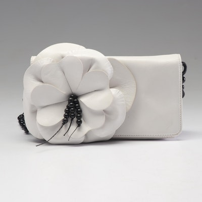 Anne Fontaine White Leather and Black Beaded Floral Flap Front Shoulder Bag