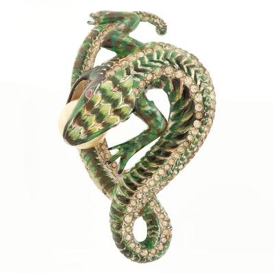 Circa 1940s Coro Craft Sterling Lizard Brooch