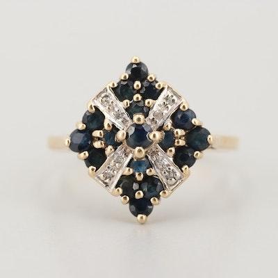 10K Yellow Gold Sapphire and Diamond Rings