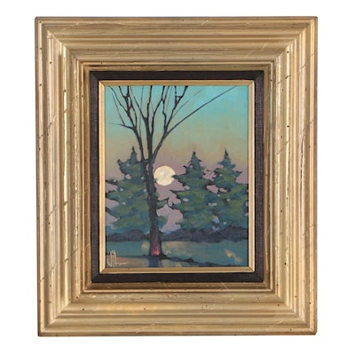 William Hawkins Forest Landscape Oil Painting