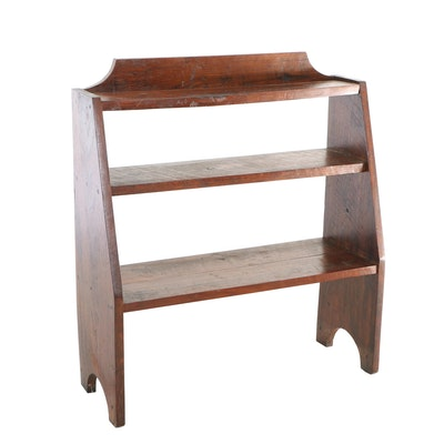 Primitive Walnut Three-Tier Bookshelf, 20th Century