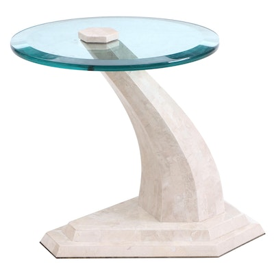Contemporary Marble and Glass End Table