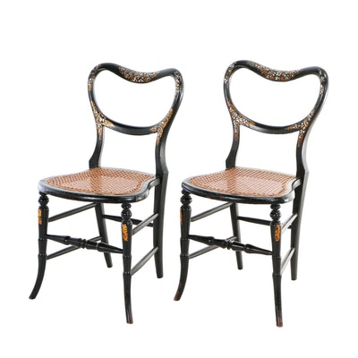 Pair of Victorian Ebonized, Mother-of-Pearl Inlaid, and Parcel-Gilt Side Chairs