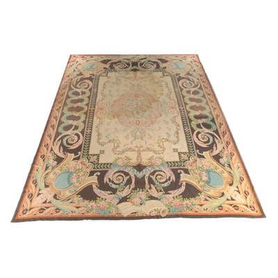 Flatwoven Savonnerie Style Wool Room Sized Rug