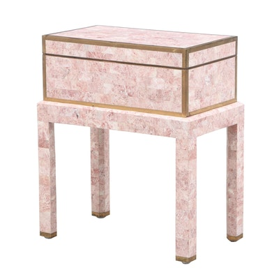 Maitland-Smith Tessellated Marble Chest on Stand with Brass Inlay Strip