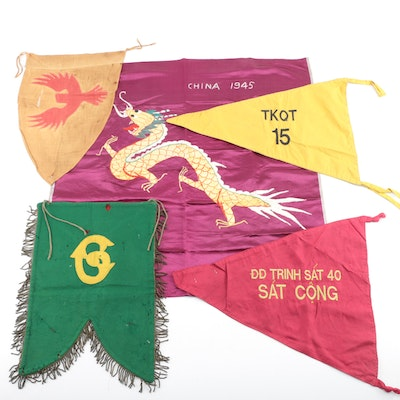 Vietnam War Pennants, Chinese WWII Flag with Dragon, and Other Banners