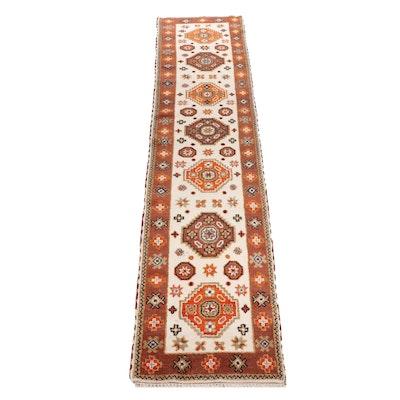 Hand-Knotted Indian Kazak Wool Carpet Runner