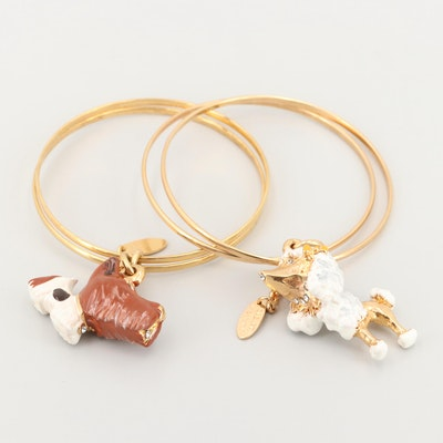 Creart Gold Tone Painted Dog Charm Double Bangle Bracelets