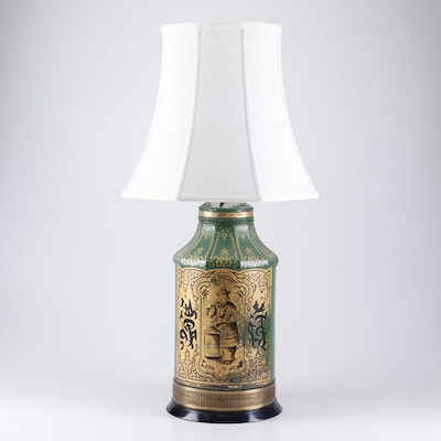 Converted Chinoiserie Painted Tea Tin Table Lamp, Early/Mid 20th Century