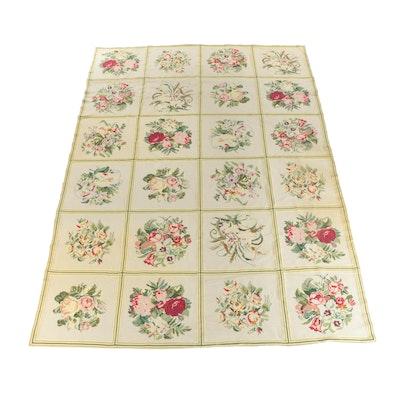 Flatwoven Wool Floral Lattice Room Sized Rug