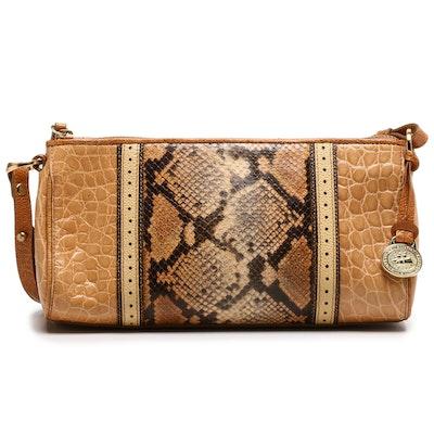 Brahmin Python and Croc Embossed Leather Shoulder Bag