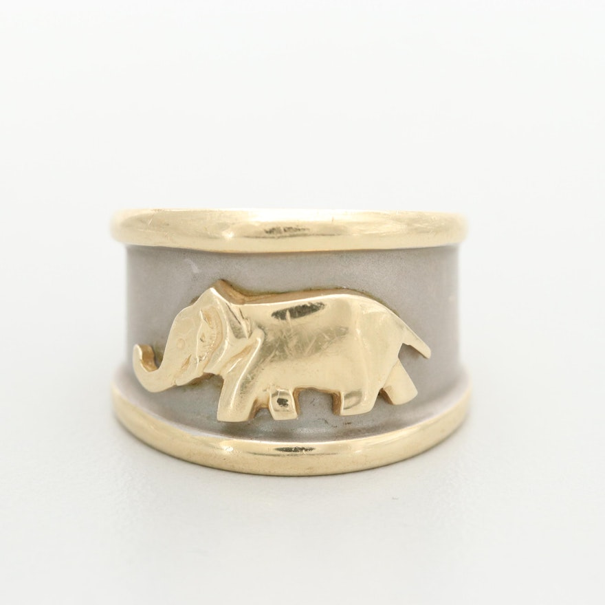 14K Yellow and White Gold Ring with Elephant Motif