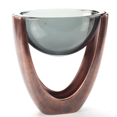 "Niel Cohen ""Copper Heritage"" Smoked Glass Serving Dish by Nambe"
