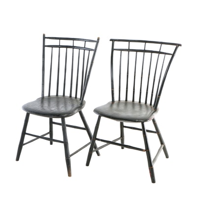 Two American Ebonized Birdcage Windsor Side Chairs, 19th Century