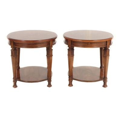 Pair of Transitional Wooden Oval Side Tables, 1970s
