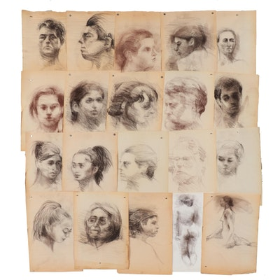 Shirley Resnick 1991-1994 Charcoal and Conté Crayon Portraits Studies