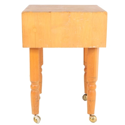United Brotherhood of Carpenters Manufactured Maple Butcher's Block Table