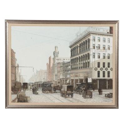 Paul MacWilliams Oil Painting of Market Street in Philadelphia