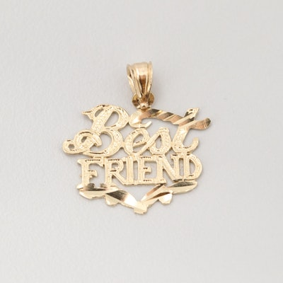 14K Yellow Gold Best Friends Pendant