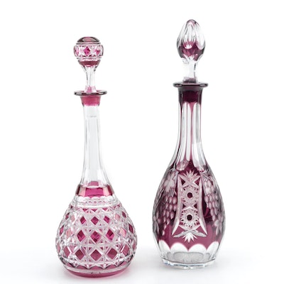 Dark Purple and Cranberry Cut to Clear Crystal Decanters, Early 20th Century