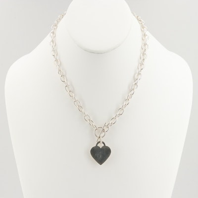 Sterling Silver Chain Necklace with Heart Tag