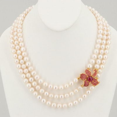 Gold Wash on Sterling Cultured Pearl, Synthetic Ruby and Ruby Flower Necklace