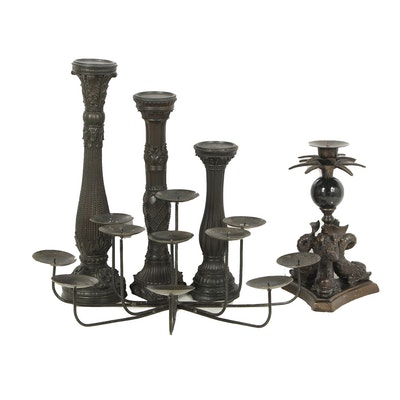 Black Finished Pillar, Pricket and Taper Candleholders