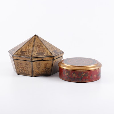 Chinoiserie Hand Painted Lidded Decorative Boxes