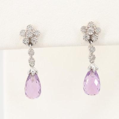 14K White Gold Diamond and Amethyst Dangle Earrings