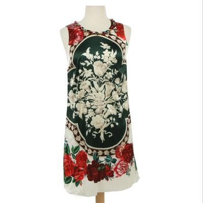 Dolce & Gabbana Silk Blend Floral Sleeveless Dress with Crystal Neckline