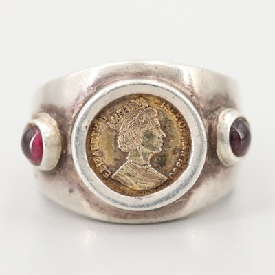 Mexican Sterling Silver Garnet 1945 Reproduction of Isle of Man Gold Angel Ring
