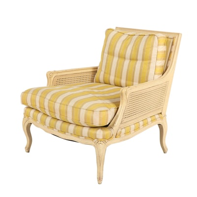 Henredon Louis XV Style Creme-Painted Wooden Bergere with Striped Upholstery