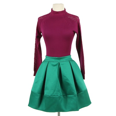 Christian Dior Magenta Knit Bodysuit and Green Satin Box Pleated Skirt