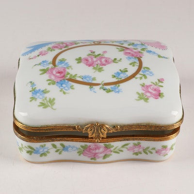 French Hand-Painted Porcelain Trinket Box