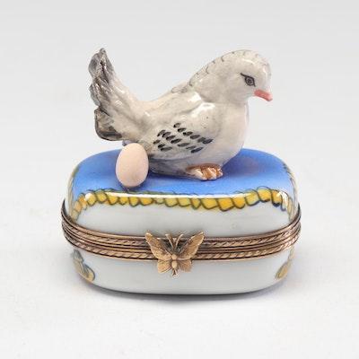 La Gloriette Limoges Hand-Painted Mother Bird Trinket Box
