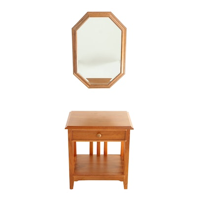 Impressions by Thomasville, One-Drawer Side Table Plus Oak Wall Mirror
