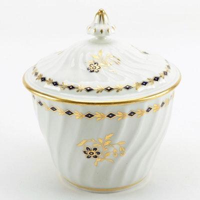 Flight Period Worcester Spiral Fluted Porcelain Sucrier, Circa 1790