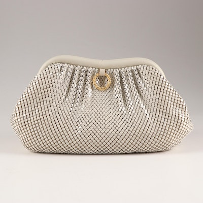 Whiting & Davis International Enameled Metal Mesh and Leather Evening Bag