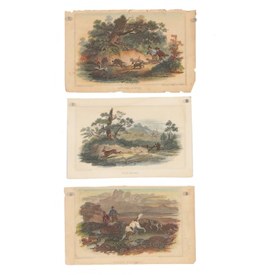 "Hand-Colored Engravings after Luke Clennell including ""Grouse Shooting"""