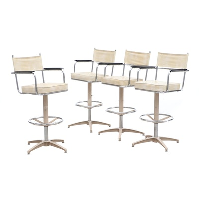 Mid Century Swivel Stools, Set of Four