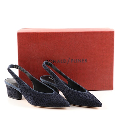 Donald/Pliner Gema Navy Leopard Suede Pointed Toe Slingbacks